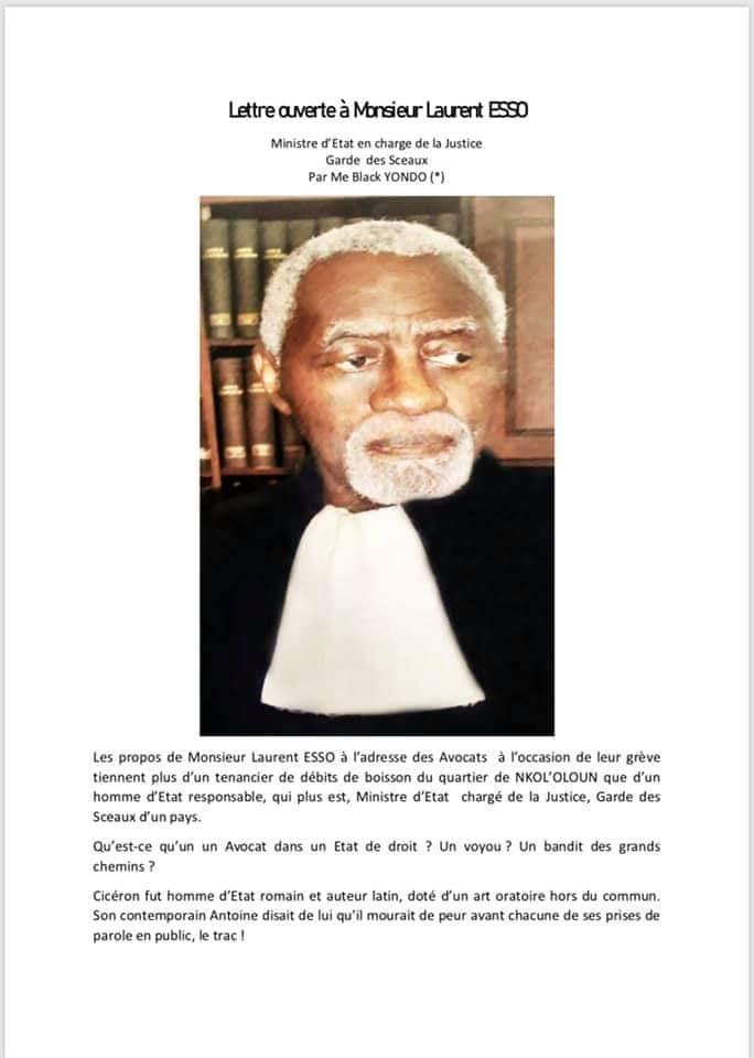 Cameroun [Lettre ouverte à Monsieur Laurent ESSO au Ministre d'Etat en charge de la Justice Garde des Sceaux]