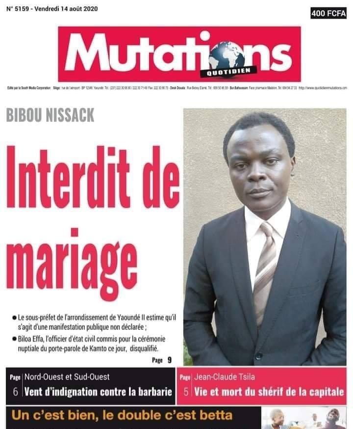 Porte parole du Pr. Kamto, Interdit de mariage